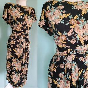 Vintage 90s does 40s Ansley Floral Midi Dress M